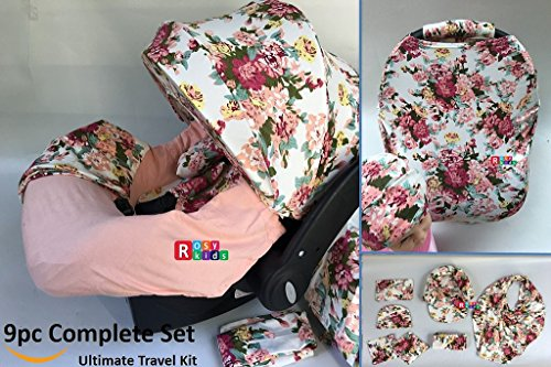 5 9pc Baby Girl Ultimate Set Of Infant Car Seat Cover Canopy Headrest Blanket Hat Nursing Scarf