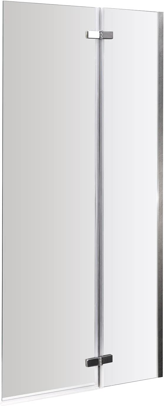 Nuie ERSS1 Ella ǀ Modern Bathroom 5mm Straight Hinged Bath Screen, 1400mm x 745mm, Satin Chrome