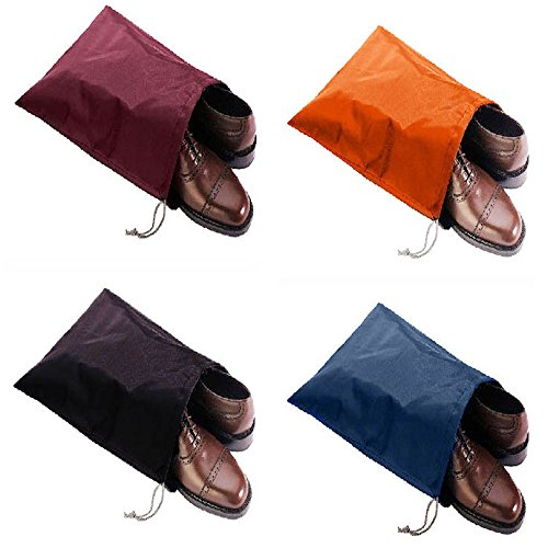 FashionBoutique waterproof Nylon shoe bags- Set of 4 (Multicolor) (Waterproof Shoe Bag)