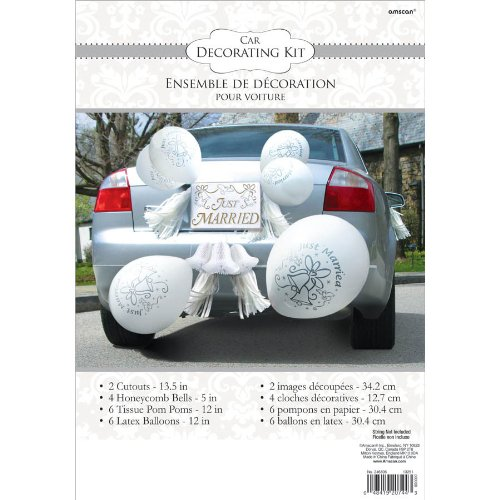 Classic Tassels and Honeycomb Bells Wedding Car Decorating Party Kit, Paper, Pack of 18 (The Wedding Bell)