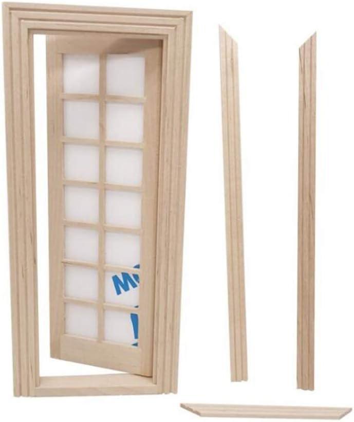 HEALLILY 1:12 Dollhouse Miniature Door Wooden Exterior Door 14 Panel Dollhouse Furniture Ornament