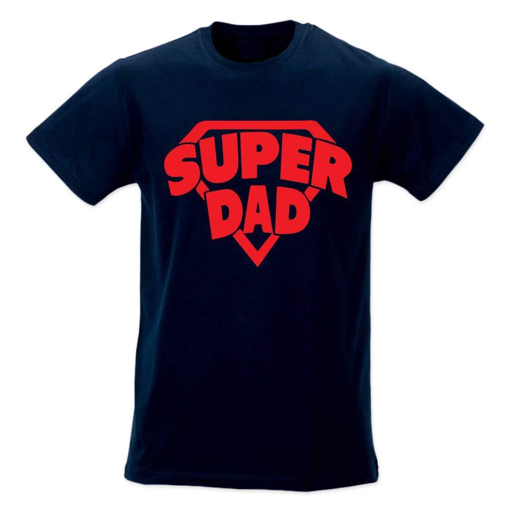Winsummer Super Dad T-Shirt Father's Day Unisex T-Shirts Men's Short Sleeve Tee Tshirt Navy