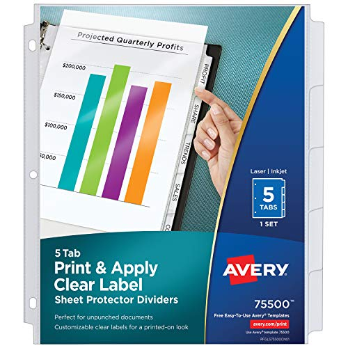 Avery 5-Tab Sheet Protector Dividers, Easy Print & Apply Clear Labels, Index Maker, White Tabs, 1 Set (75500)