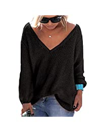 BIUBIONG Women's Casual Autumn V Neck Loose Knit Pullover Tops Sweater Jumper