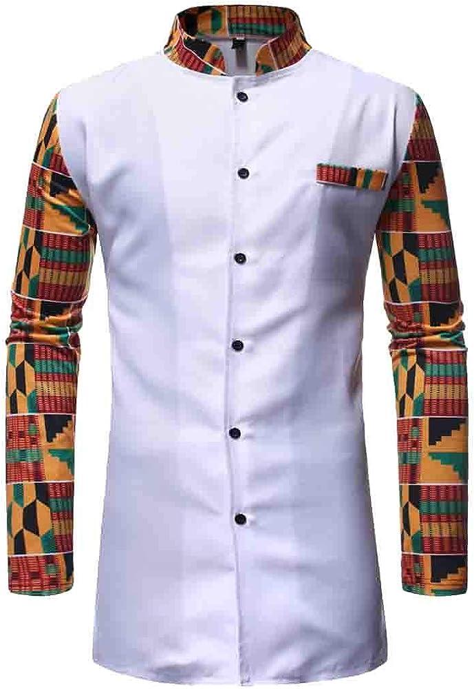 BOBOLover Cuello de Estilo Africano para Hombre Traje Largo de Dos Piezas Camisa Casual Camisa de Hombre de Manga Larga con Estampado Africano Camisa de Cuello Alto Camisas de Hombre: Amazon.es: Ropa