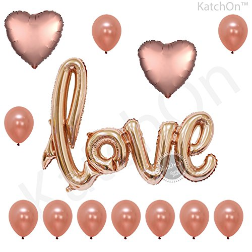 Gold Love Script and Rose Gold Balloons - Valentines Day Decorations and Gift for Him or Her - Rose Gold Foil Heart Balloons - Rose Gold Latex Balloons