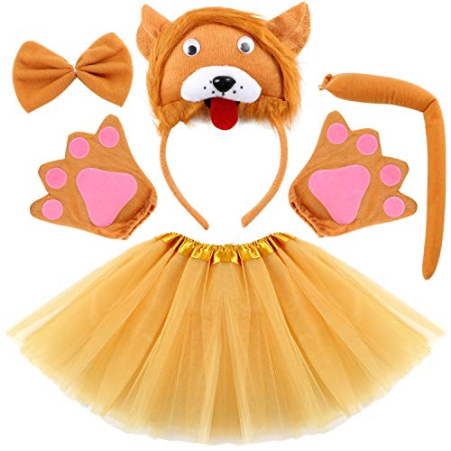 Kids Animal Costume Ears Headband Glove Bowtie Tail Tutu Set Fancy Dress Up Outfit Birthday Party Cosplay Halloween Costume for Girls (Lion)