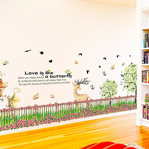 Fence Moose - Wall Stickerskick-Line Wall with Fence, Flower Garden, Flower Moose, Kick-Line Wall with Corner Decoration of Living Room Walkway in Bedroom