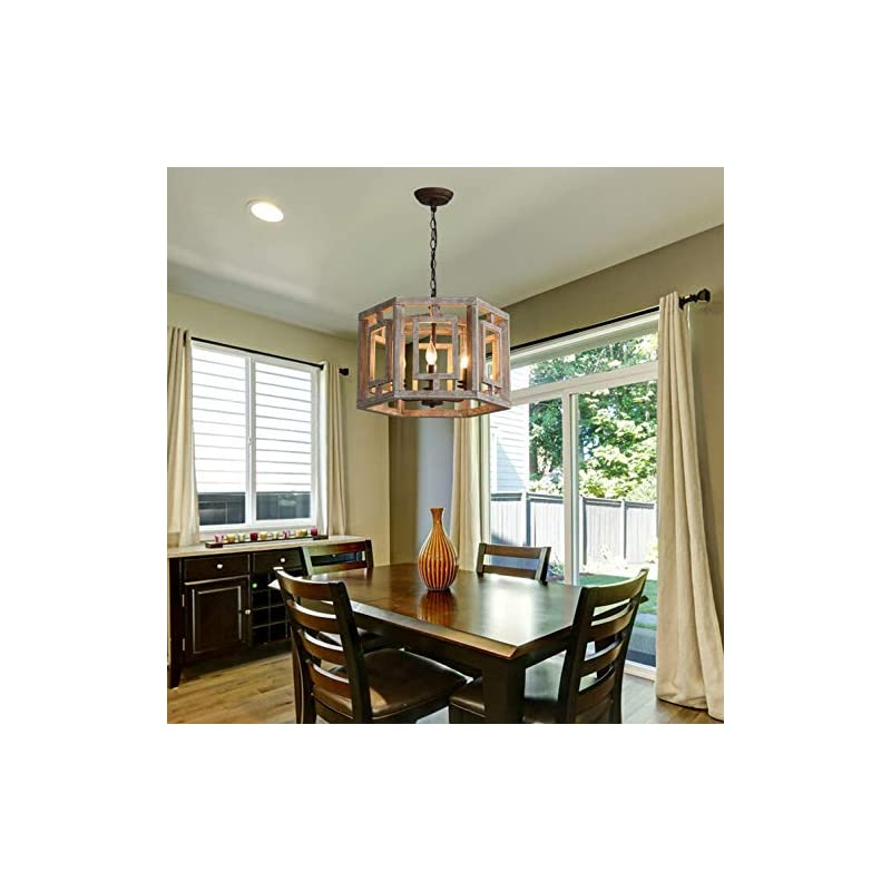 Farmhouse Wood Chandelier 6-Light Rustic Pendant Light, Dining Room Wooden Chandeliers Kitchen Island Ceiling Lighting…