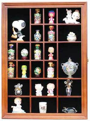 Miniature Figurine Display Case Small Wall Curio Cabinet Shadow Box, Glass  Door, TC02