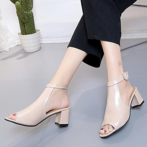 Lolittas Summer Women Gladiator Sandals Shoes High Block Heel Wedge Platform,Open Peep Toe Slingback Laceup Wide Fit Personalised Size Black 2-6 6CM Beige