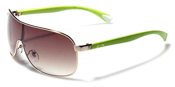 d1f7b13a32 Amazon.com  Giselle Gold Metal Rim Frame Shield Aviator Sunglasses ...