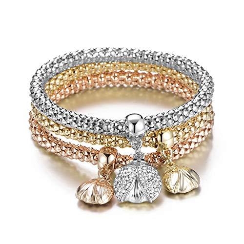 Aggenix Store Bracelet 3pcs/Set Tree of Life Bracelet Popcorn Owl Heart Anchor Musical Note Charm Bracelets for Women Pulseria Feminina Boy & Girl Jewelry Beatles ()