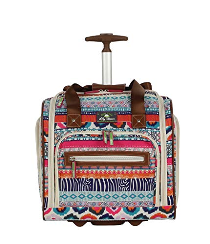 Lily Bloom Designer 15 Inch Carry On - Weekender Overnight Business Travel Luggage - Lightweight 2- Spinner Wheels Suitcase - Under Seat Rolling Bag for Women (One Size, Tribal Stripe)