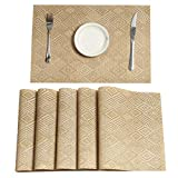 Pauwer Gold Placemats Set of 8 for Dining Table Woven Vinyl Placemats Washable Heat Resistant Kitchen Table Placemats Wipe Clean