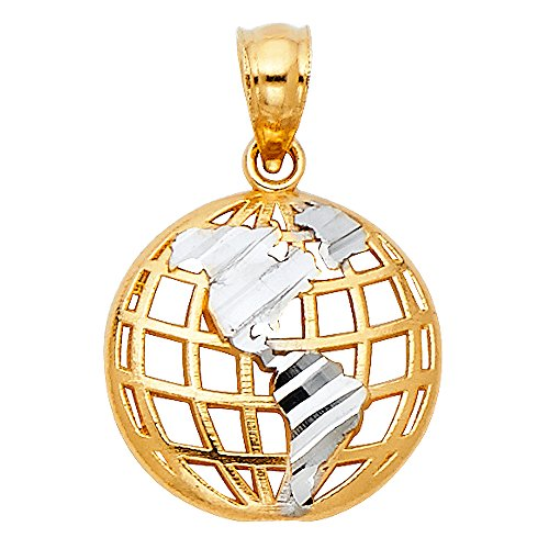 14k Gold Globe (Solid 14k Yellow White Gold Globe Pendant World Earth Charm Polished Open Design Two Tone 13 x 13 mm)