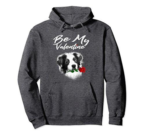 Unisex Valentine's Day Dog Holding Rose Funny Hoodie Medium Dark Heather