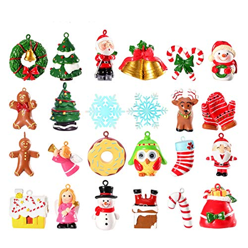 Unomor Mini Christmas Ornaments, Resin Design with Santa Clause, Snowman, Angle and...