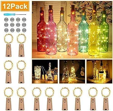12 pack Cadena Led Luces para Botellas de Vino 2.5M 25 luces LED para botellas