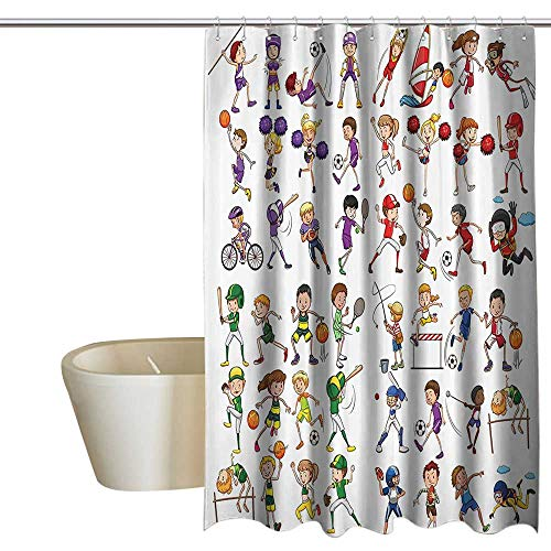 Suchashome Sports Decor Collection Waterproof Bathtub Curtain Kids Playing Various Sports Illustration Cheerleader Boys Girls Children Picture Colorful Shower Curtains W48 x L72 Red Purple Orange -