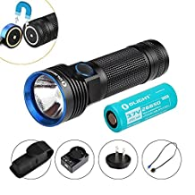Olight® R50 Pro Seeker 3200 Lumens Rechargeable Flashlight with Cree XHP70 LED, 4500mAh 26650 Lithium Battery Included Side-Switch 18650 Flashlight, Compact Torch Light for LE Police Outdoors