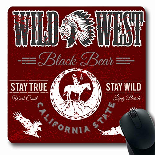 Ahawoso Mousepads for Computers Chief Apache Wild West American Indian Designed Camping Vintage Arrow Arrowhead Axe Aztec Bow Design Oblong Shape 7.9 x 9.5 Inches Non-Slip Oblong Gaming Mouse Pad