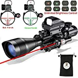 Hunting Rifle Scope Combo 12x50EG Dual Illuminated with Green Laser sight 4 Holographic Reticle Red/Green Dot for Weaver/Rail Mount