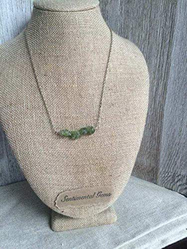 Raw Peridot Necklace - October Birthstone, Natural Peridot [Unknown Binding] Unknown
