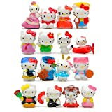 10Pcs/Set hello-kitty style cartoon figures Mini doll (size 1.7~2cm)