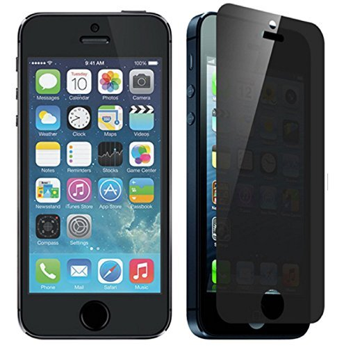iPhone 5/5S/5C - Tempered Glass Screen Protector, Gravydeals® Privacy Anti-spy Anti-shatter Tempered Glass Screen Protector Film Shield for iPhone 5/5S/5C