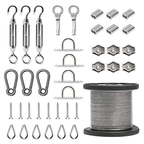 Byshun Outdoor Light Hanging Kit,Globe String Light Suspension Kit,164ft Stainless Steel Cable Light Guide Wire Rope with Turnbuckles and Hooks for Patio,Backyard Lighting (Portable Vinyl Fencing)