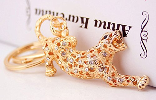 Gift Idea Cool 3D Golden Panther Leopard Figure New Fashion Rhinestone Crystal Keychain Purse Clipper Chain Gift with Wooden Textured Charms for Good Luck & Repel Evil