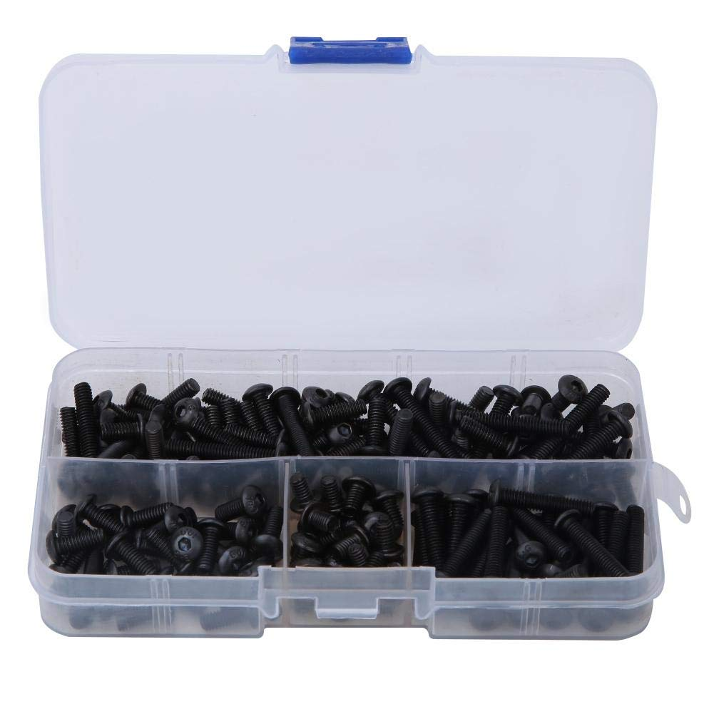 Household Use M4 Carbon Steel Hexagonal Socket Bolt Nut Kit,for Automotive Maintenance Machine Repair 170PCS M4 Round Head Screw