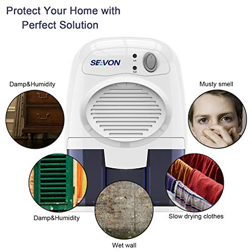 SEAVON New Electric 2019 Mini Dehumidifier, 1500 Cubic Feet (170 sq ft) Portable and Compact 500ml (16 oz) Capacity Quiet Mini Dehumidifiers for Basement, Bedroom, Bathroom, RV, Closet, Auto Shut Off