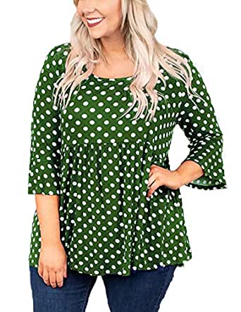 OHDREAM Womens Tunic Tops Plus Size Polka Dot Shirts Bell Ruffle 3/4 Sleeve Babydoll Peplum Casual Blouse Green