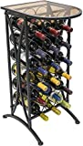 Cheap Sorbus Wine Rack Stand Bordeaux Chateau Style with Glass Table Top – Holds 18 Bottles of Your Favorite Wine – Elegant Looking French Style Wine Rack to Compliment Any Space – Minimal Assembly