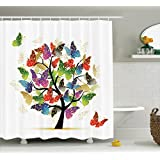 Ambesonne Tree of Life Decor Collection, Shaded Butterfly Moth Tree Colored Wings Flying New Life Theme Illustration Hope Home, Polyester Fabric Bathroom Shower Curtain Set with Hooks, Multi