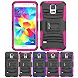 Galaxy S5 Case, HLCT Rugged Shock Proof Dual-Layer PC and Soft Silicone Case With Built-In Kickstand for Samsung Galaxy S5 (2014) (Rose Pink)