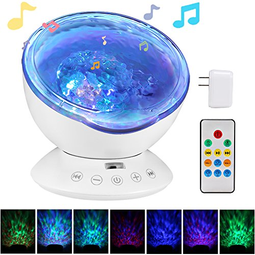 totobay [Newest Generation] Remote Control Ocean Wave Projector 12 LEDs & 7 Color Changing Modes Night Light and Built-in Mini Music Player for Living Room and Bedroom ()