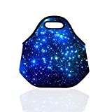 Kids Boys Girls Soft Neoprene Sleeve Gourmet Getaway Lunch Tote Bag Lunch Box School Office Tote Pouch Cooler Warm Container Insulated Holder Baby Bag W/ Handle Case Soft Cover (Blue Stars)
