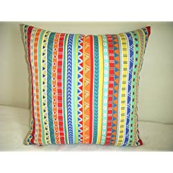 Indoor/Outdoor Fabric Pillow Cover Multi Color Stripes Designs Red Blue Turquoise Orange Zipper