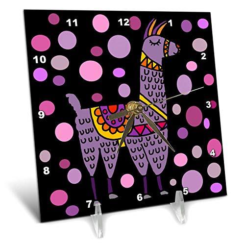 3dRose All Smiles Art - Animals - Cute Funny Purple Llama and Circles Abstract Art - 6x6 Desk Clock (dc_291193_1)
