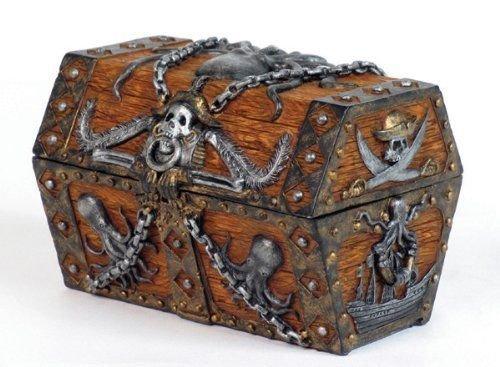 5.5 Inch Skull and Chain Pirate's Chest Jewelry/Trinket Box Figurine New (Irish Make Up Bell)