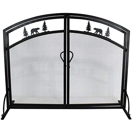 Single Panel Wrought Iron Fireplace Screen, Black Iron Mesh Fireplace Screen with Hinged Magnetic Doors, Decorative Fireplace Screen Spark Guard for Fireplace Accessories (Screen Firplace)