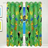 Vantaso Light Shading Window Curtains Africa Sport Man With Soccer Polyester 2 Pannels for Kids Girls Boys Bedroom Living Room 84 inch x 55 inch