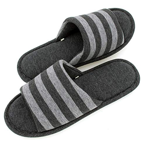Ash Bedroom - Sunshine Code Men's Memory Foam Cotton Washable Stripe Slippers for Travel House Hotel Spa Bedroom, 29CM, Ash Black