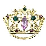 Mardi Gras Crown Purple Green Yellow Rhinestones Pin Brooch (Gold Tone)