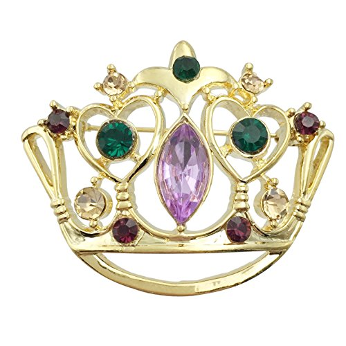Mardi Gras Crown Purple Green Yellow Rhinestones Pin Brooch (Gold Tone)