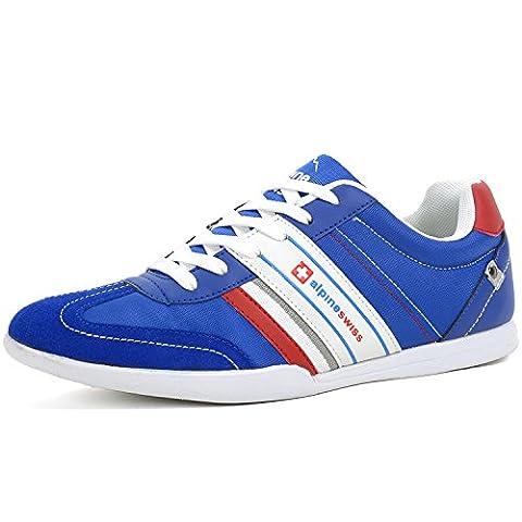 Alpine Swiss Mens Ivan Navy Suede Trim Retro Tennis Shoes 10 M US (Swiss Mens Classic)