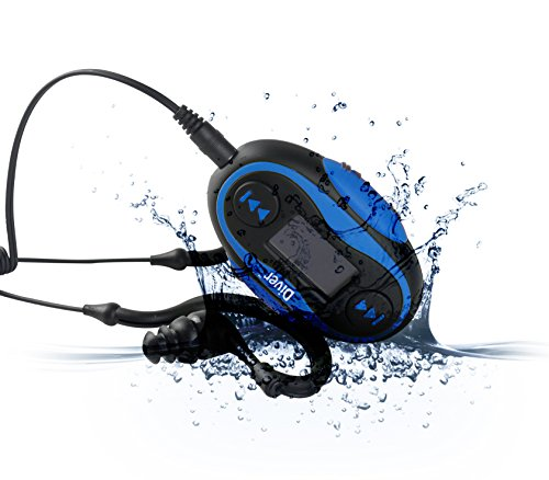 Diver 4GB Waterproof MP3 Player with LCD Display and Earphones (Blue) (Player And Mp3 Waterproof Radio)